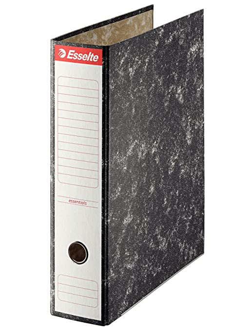 Esselte 46959 - Archivador de palanca de cartón con lomo de 75 mm, color negro