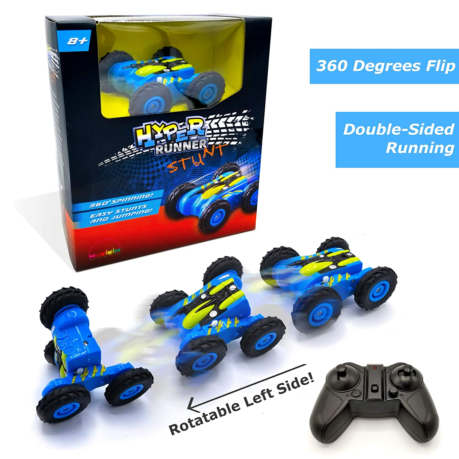 MukikiM Hyper Runner Stunt Remote Control Race Car Rocks Super High-Speed Stunts /& Moves Quick USB Charge 360/° Spins /& Double-Sided Runs with Fun Light Not Your Normal RC Car! Blue
