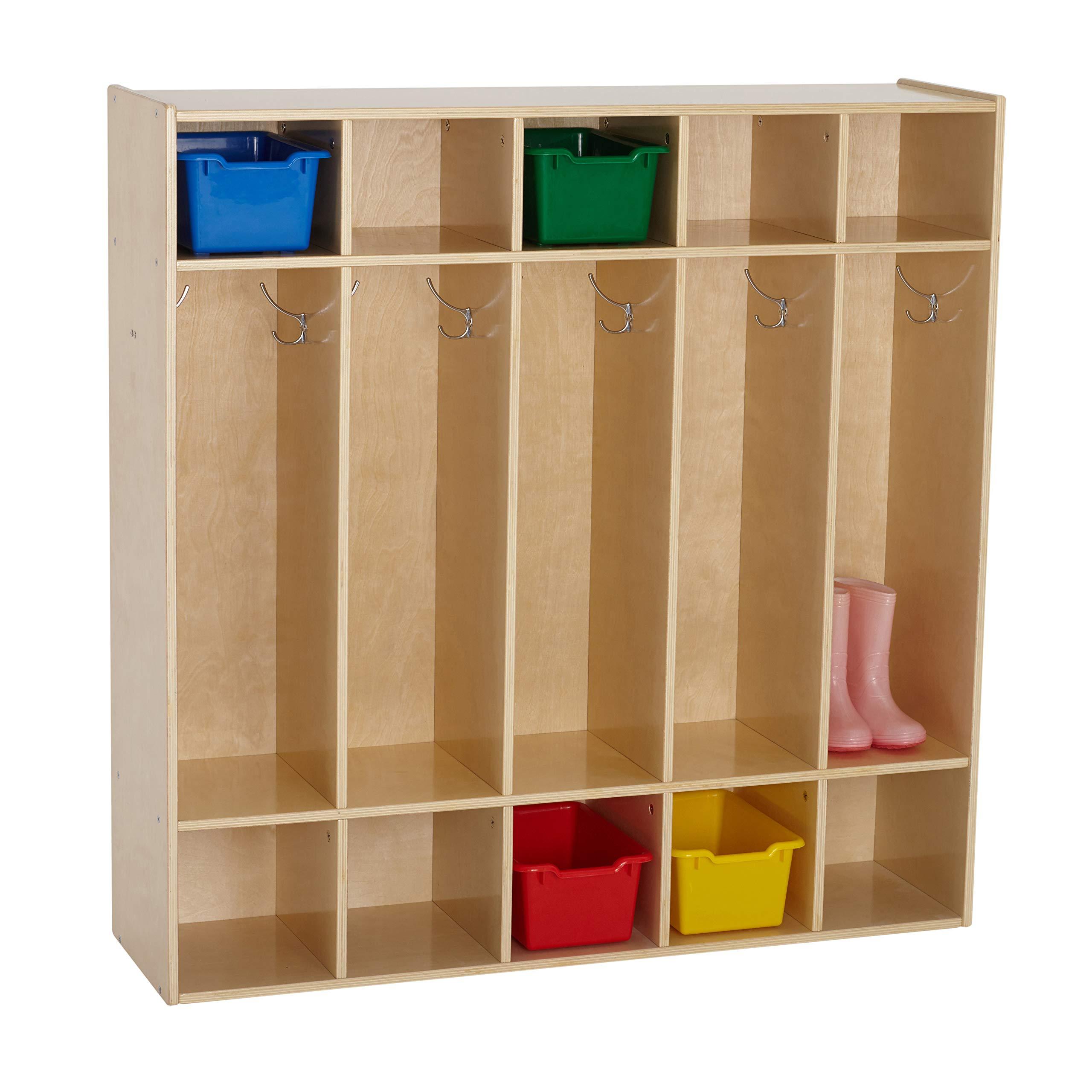 ECR4Kids Birch Streamline Classroom Locker   Hardwood Coat & Backpack Storage for Kids   5-Section, Standard (46'' H) by ECR4Kids