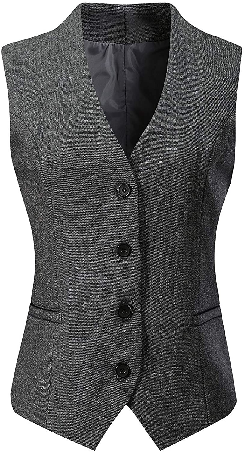 "Vocni Women's Fully Lined 4 Button V-Neck Economy Dressy Suit Vest Waistcoat ,Gray ,US XL (Fit Bust 42.9""-45.3""),Asia 7XL"