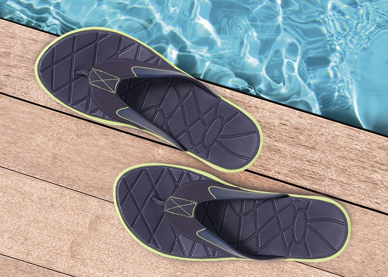Herren Fitness Soft Pantoletten Badepantoletten Badeschuhe Duschschuhe  Sandalen Slipper Zehentrenner Badelatschen Sommerschuhe Navy & Limette Gr. 42-45: ...