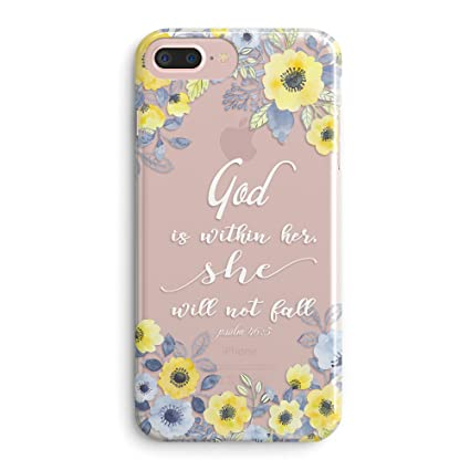 Compatible Iphone 7 Plus Iphone 8 Plus Case Girls Floral Flowers Psalm Bible Verse Cute Christian Women Quotes God Is Within Her She Will Not Fall