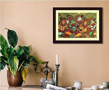 tamatina wooden texture frame canvas kerala mural art painting with