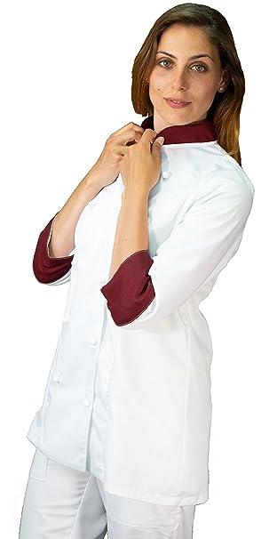 tessile astorino Ricamo Gratuito casacca chef donna bianca e bordeaux Made in Italy giacca cuoco