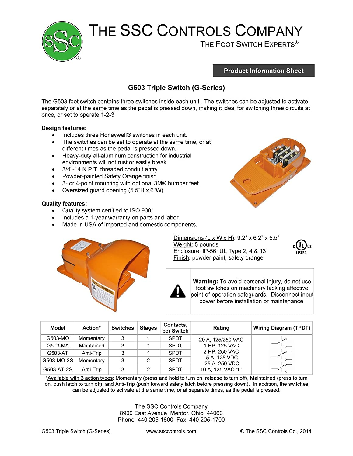 SSC Controls G503-MO Foot Switch, Electrical, Momentary Action ...