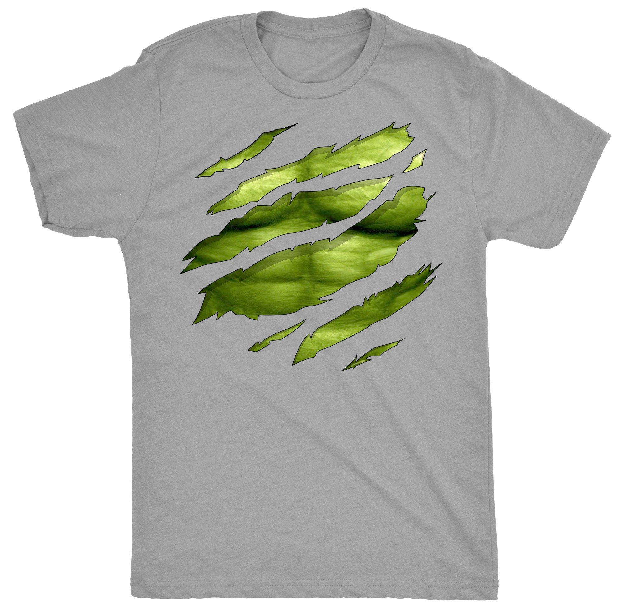The Big Green Man Chest Under Torn Hommes T Shirt