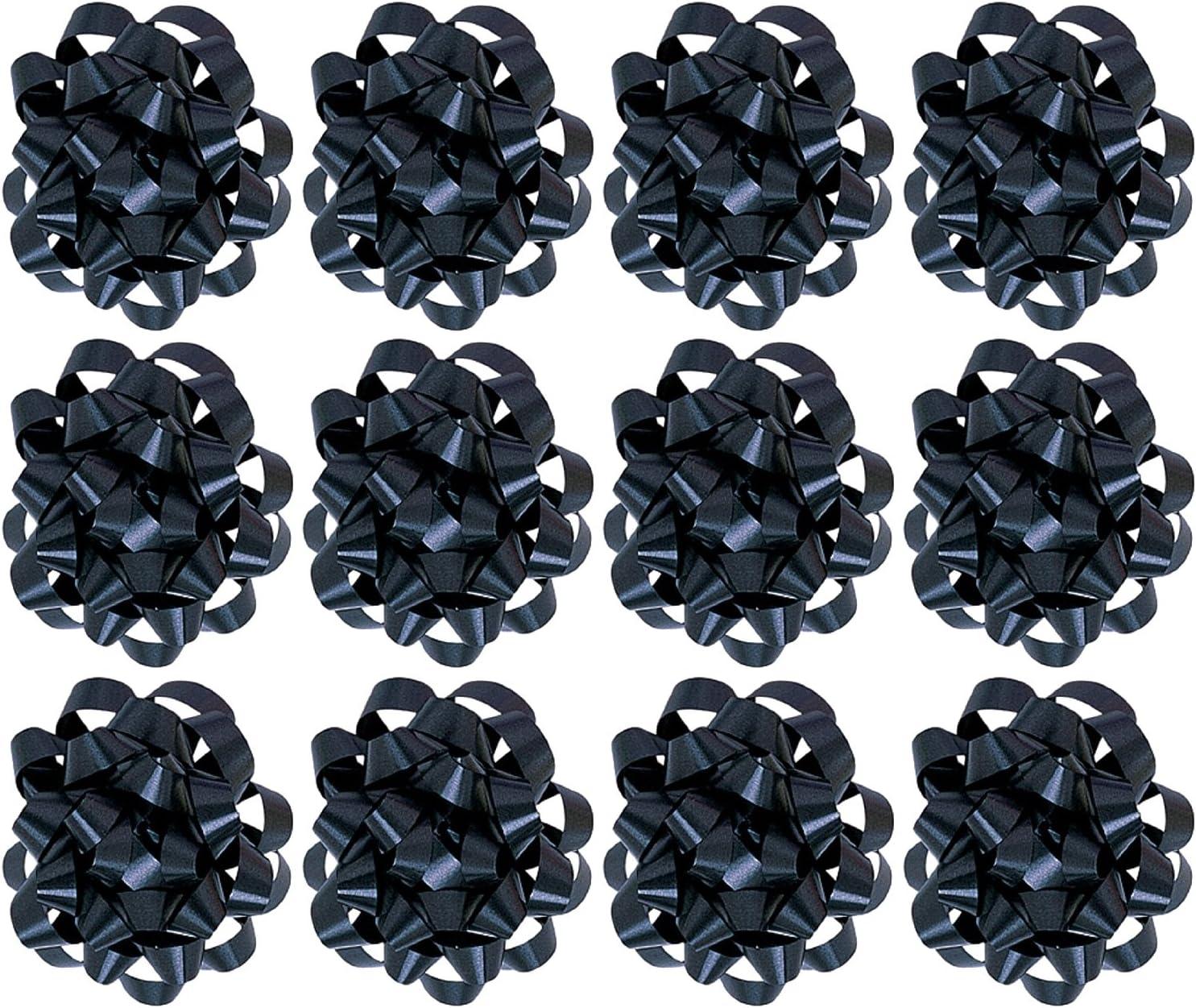 The Gift Wrap Company Decorative Confetti Gift Bows, Medium, Black, pack of 12