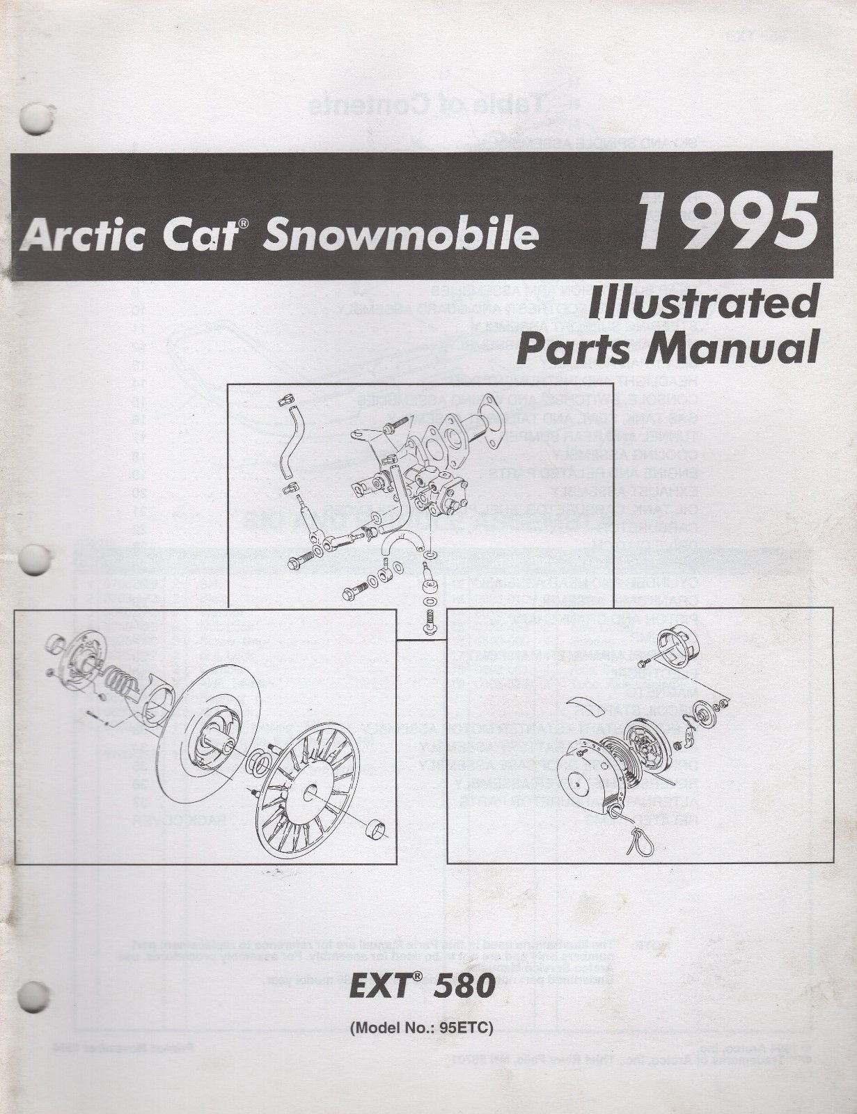 1995 ARCTIC CAT SNOWMOBILE EXT 580 PARTS MANUAL P/N 2255-154 (748)  Paperback – 1995