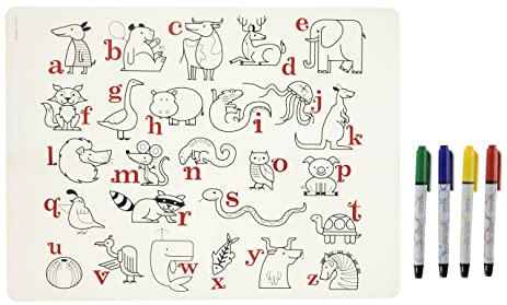 Amazon.com: modern-twist Kids Mark-Mat Silicone Coloring Placemat ...