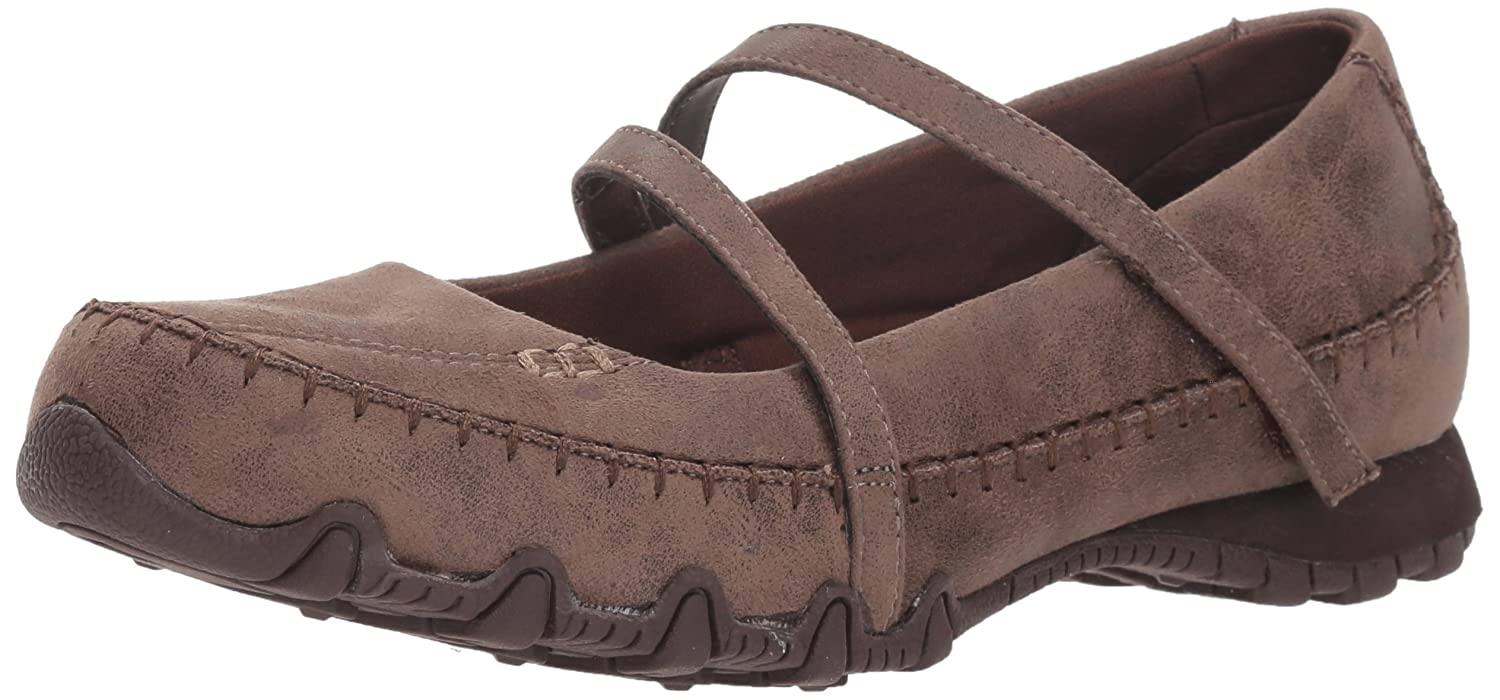Skechers Women's Bikers-Free Thinker-Whipstitched Mary Jane Flat B07CTGFRN4 9.5 B(M) US|Chocolate