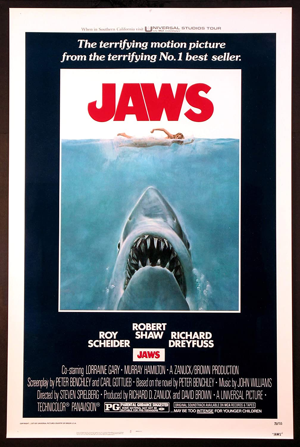 JAWS STEVEN SPIELBERG SHARK HORROR 1975 ORIGINAL 27X41 ONE SHEET MOVIE  POSTER ROLLED NEAR MINT/MINT UNUSED at Amazon's Entertainment Collectibles  Store