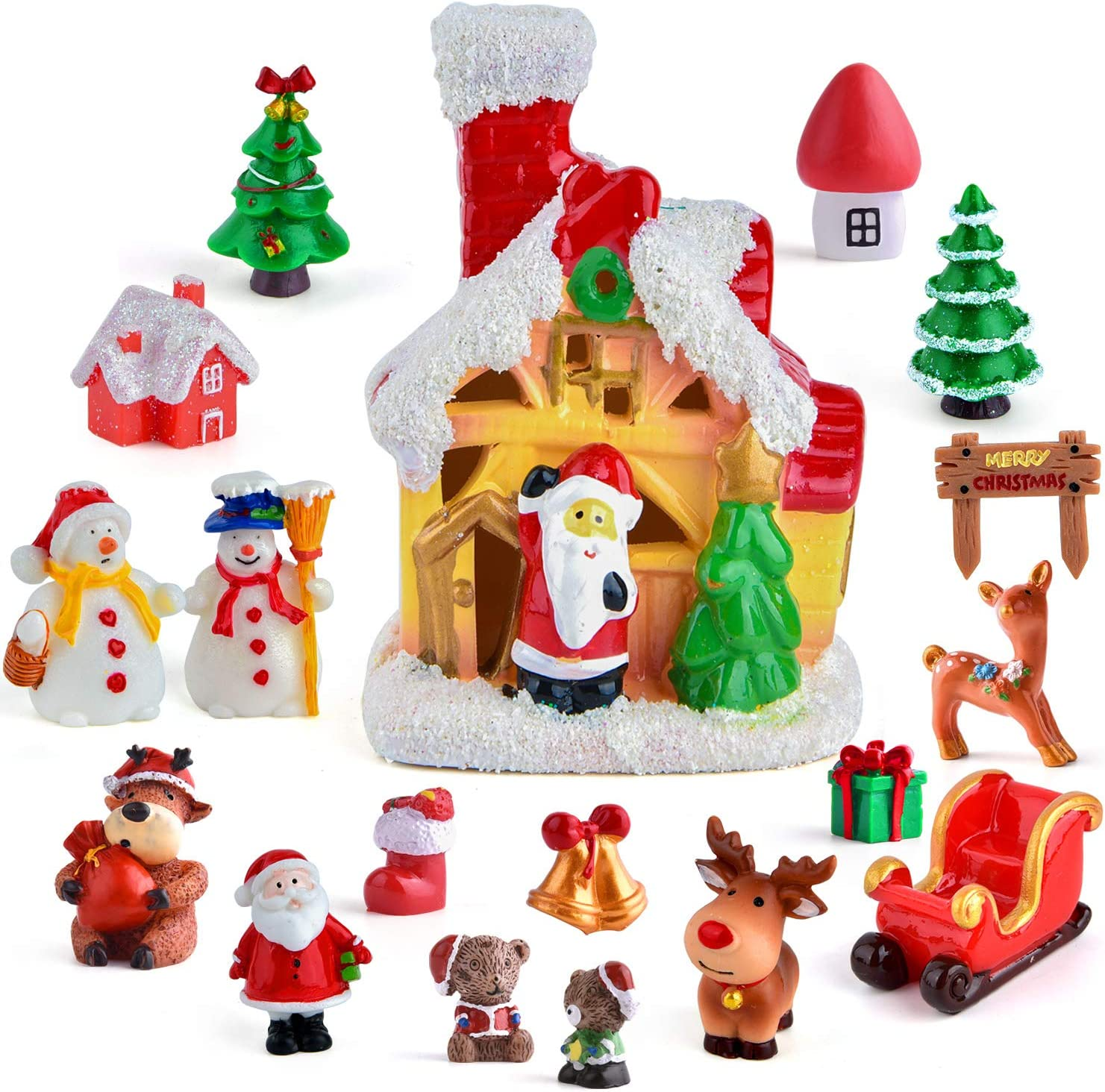 Zealor Christmas Fairy House Miniature Ornaments Kit DIY Fairy Garden Dollhouse Christmas Tree Snowman Castle Mini Ornaments for Christmas Party Decorations (Size 3)