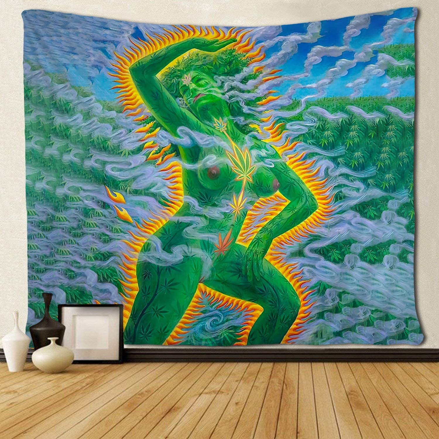 SARA NELL Magical Trippy Psychedelic Tapestry Sexy Naked Woman with Green Marijuana Leaf Weed Tapestries Wall Hanging Hippie Art 50x60 Inches Home Decoration Dorm Decor for Living Room Bedroom