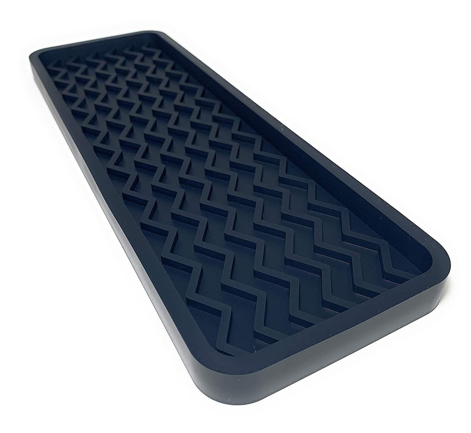 Silicone Kitchen Sink Organizer Tray, 12 inches x 4 inches, 9.2 ounces (BLACK)