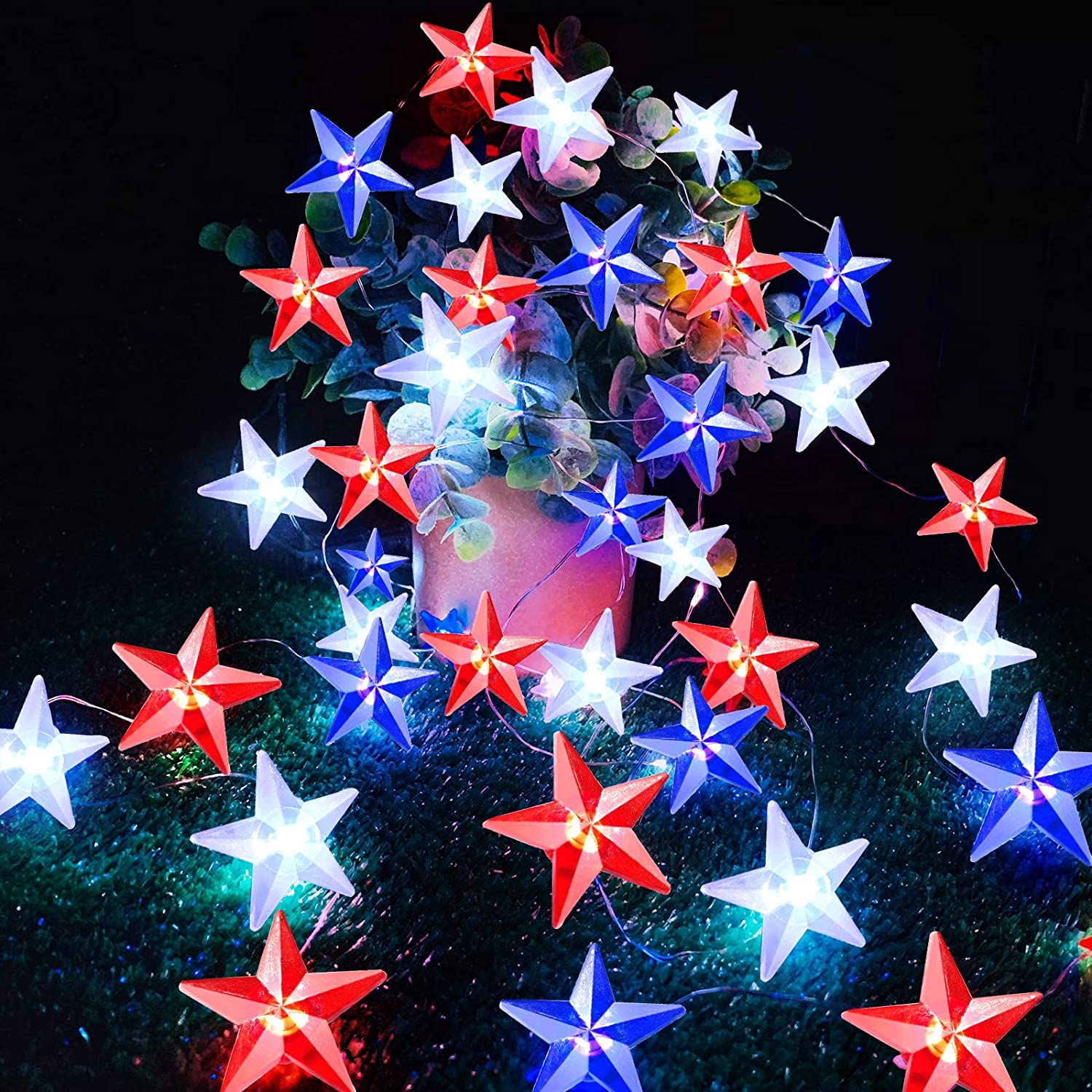 TURNMEON American Flag Stars String Lights with Remote Timer, 10Ft 40Led USA Patriotic Red White Blue Fairy Lights Battery Operated Decorations Memorial Day, 4th of July, Independence Day,National Day
