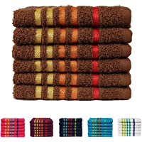 Casa Copenhagen 475 GSM 100 % Combed Cotton EXOTIC 6 Pcs Face Towels- Brown