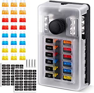 Extractme Upgraded 12 Way Fuse Block Box with Thumbscrew and LED Indicator, 12 Circuit Blade Fuse Box Holder W/Negative Bus Damp-Proof Cover Label Sticker for 12V/24V Auto Car RV Marine Boat and Yacht