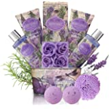 Relaxing Bath Gift Set for Women - Lavender and Rosemary Aromatherapy Basket at Home Spa Kit – Mothers day Birthday…