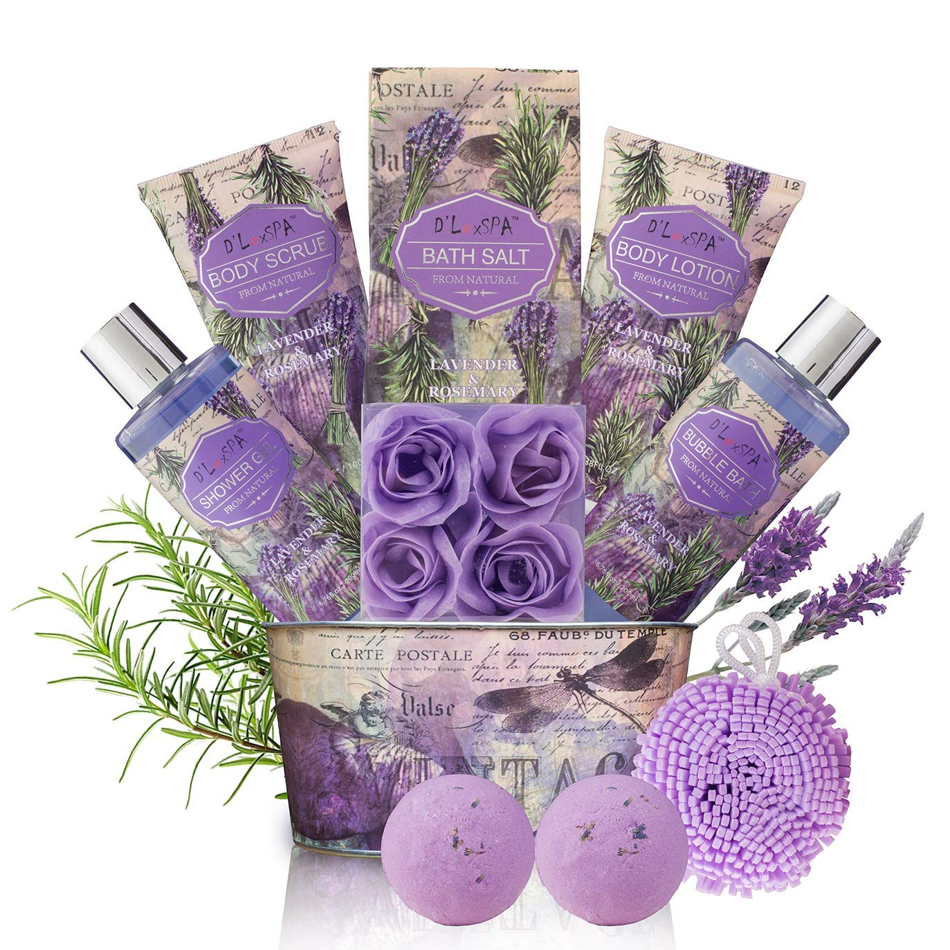 Relaxing Bath Gift Set for Women - Lavender and Rosemary Aromatherapy Basket at Home Spa Kit - Mothers day Birthday Holiday Gift Ideas for Mom - 13 Pack with Bubble Bath Bombs Show Gel Body Lotion by DLuxSpa