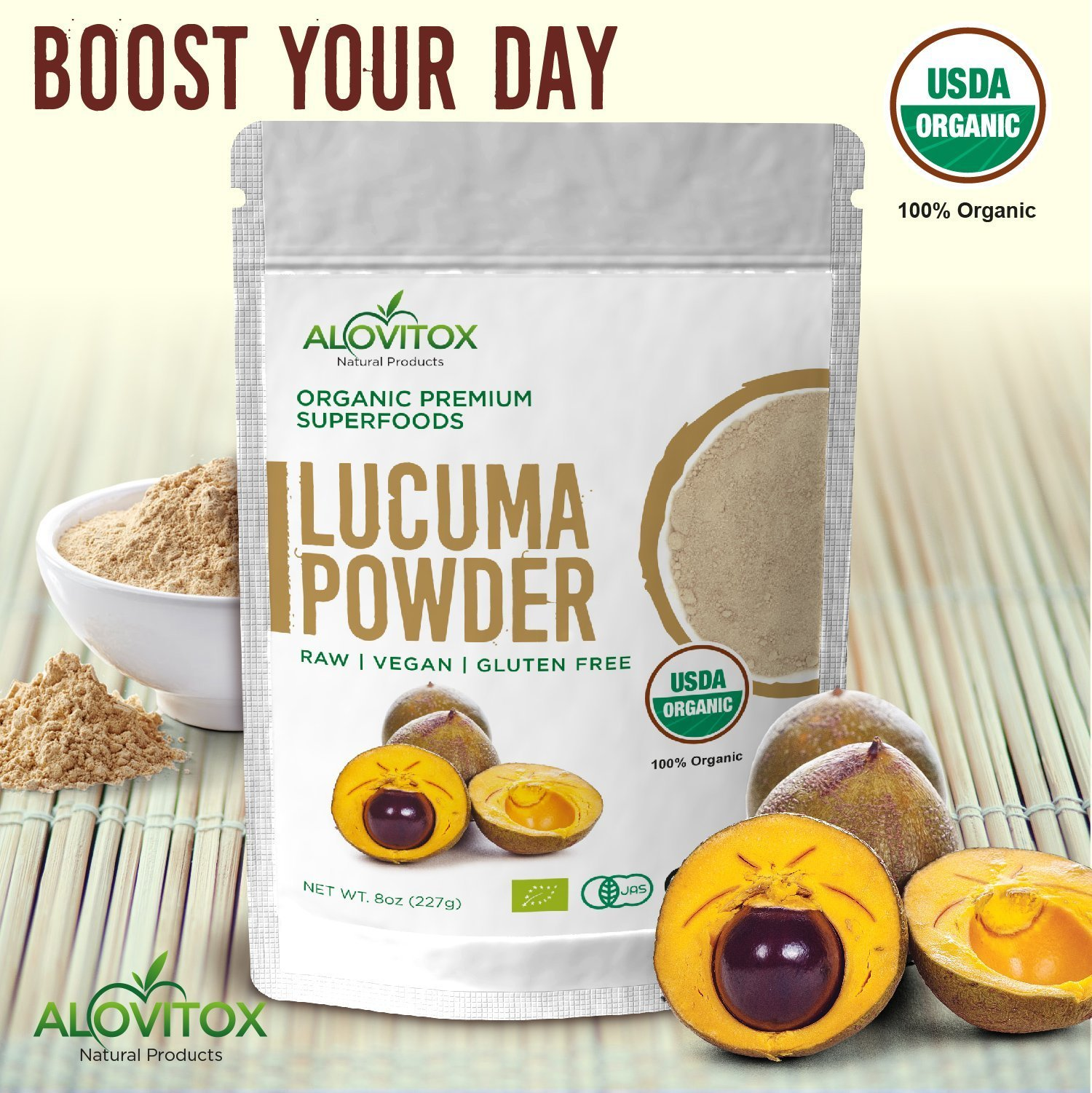 Lucuma Powder Superfood - Certified Organic, Raw, Pure and Healthy - Smoothie Natural Sweetener, Vegan, Gluten Free 8oz Pouch - Great in Yogurt, Smoothies, Ice Cream - By Alovitox by ALOVITOX (Image #6)