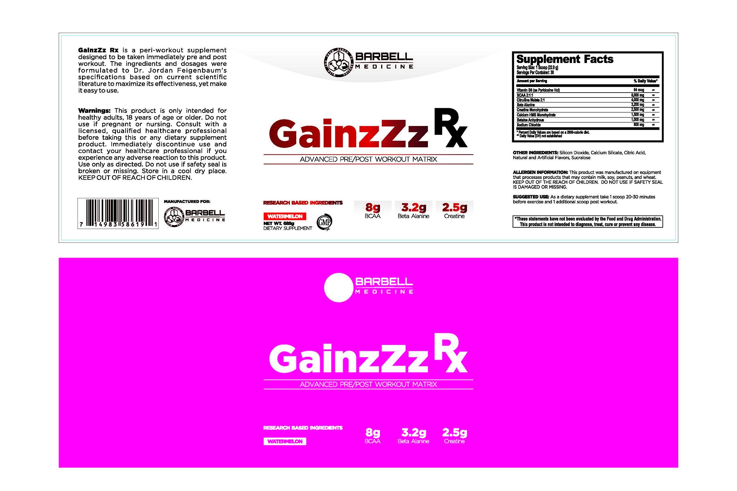 Barbell Medicine, Peri-Rx Post & Pre-Workout Powder, BCAA, Creatine Monohydrate, Beta Alanine, Citrulline Malate, HMB, Betaine Anhydrous, Caffeine Free, Watermelon, 687g by GainzZz Rx (Image #2)