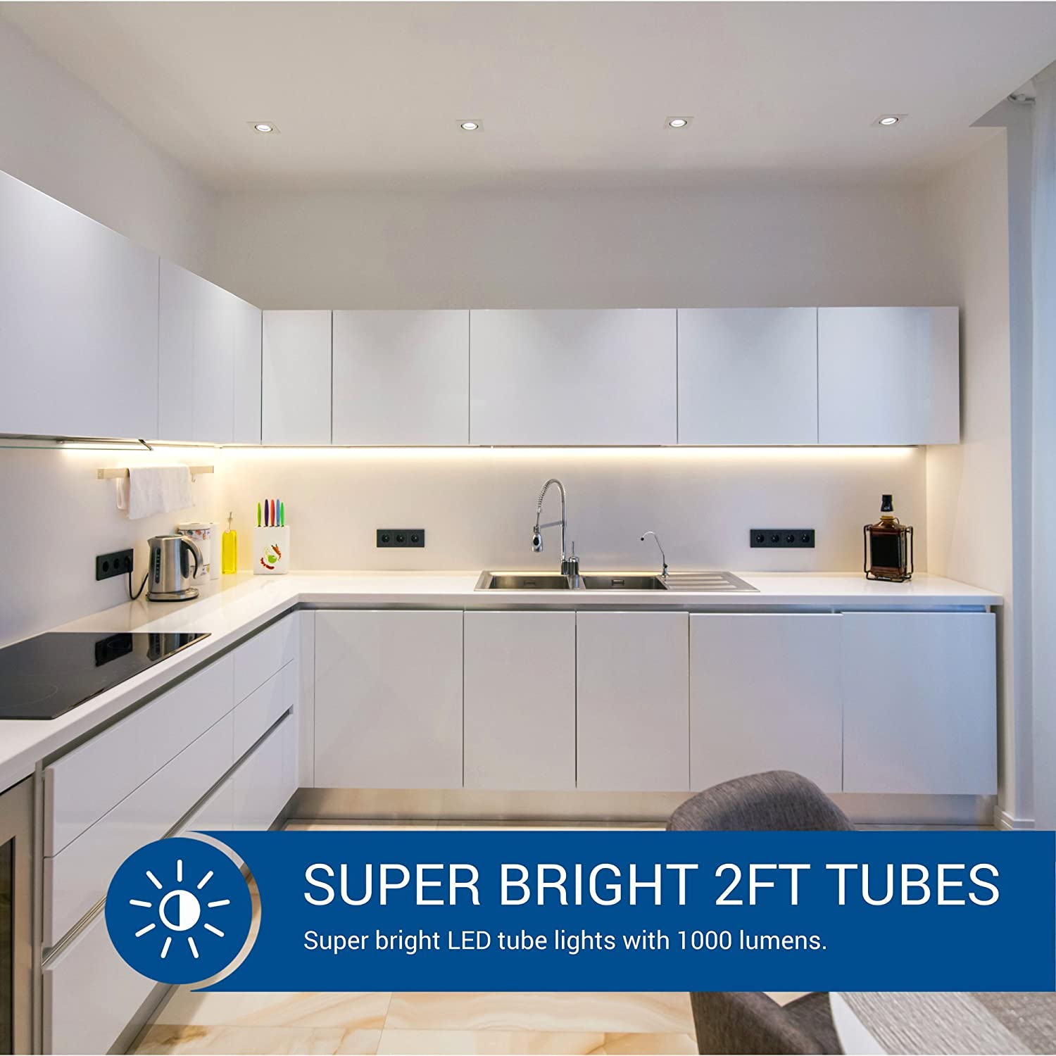 Hyperikon T T T Ft LED Bulbs Fluorescent Replacement Tube - Led tube lights for kitchen ceiling