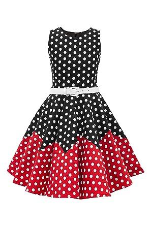 579cde997 BlackButterfly Kids 'Amy' Vintage Polka Dot 50's Girls Dress (Black - Red,