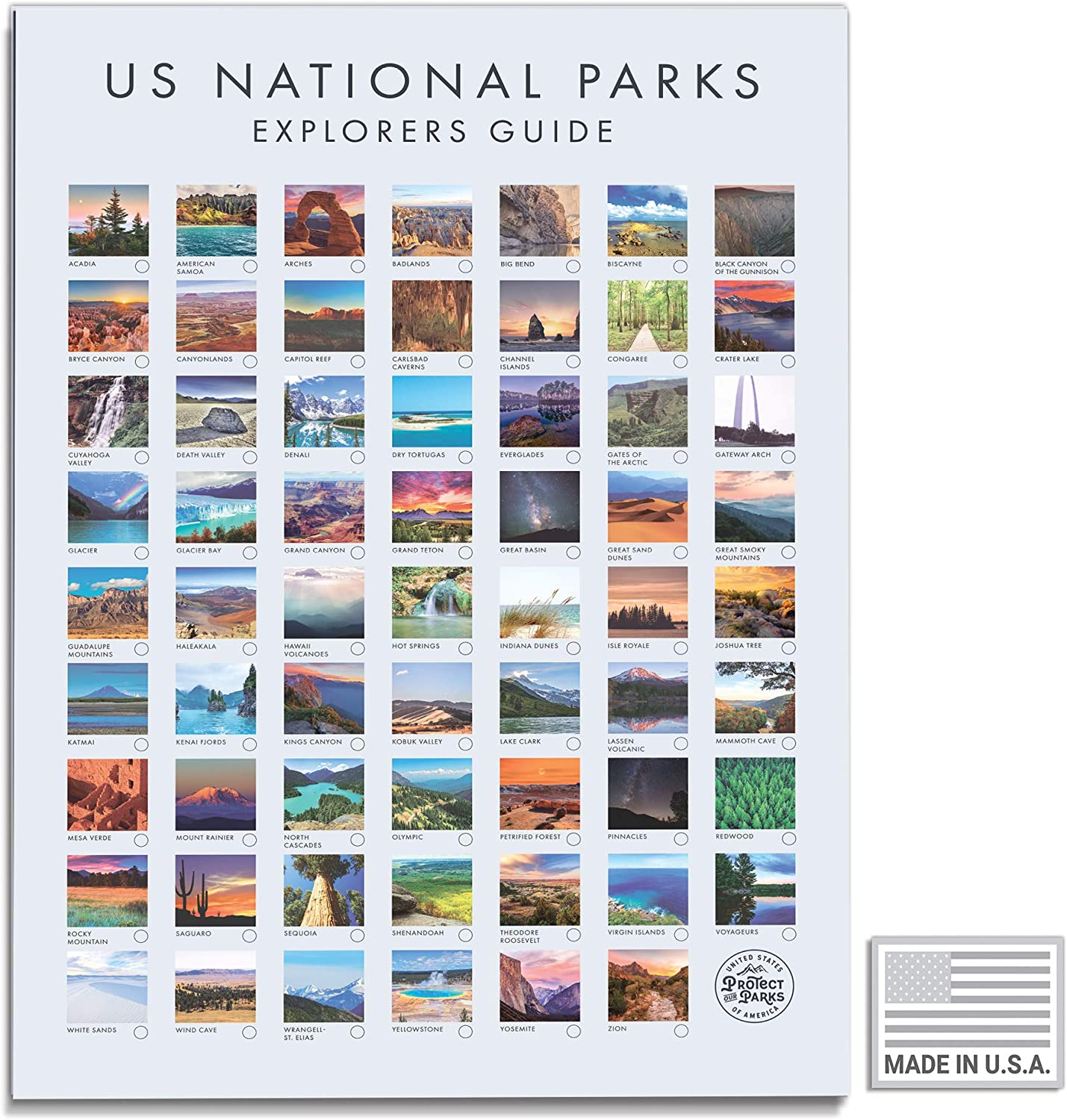 USA National Park Poster - Interactive Travel Map With All 62 US National Parks - Made in the USA - Mark Your Travels Through Our Beautiful National Parks Great National Park Poster Gift for Travelers