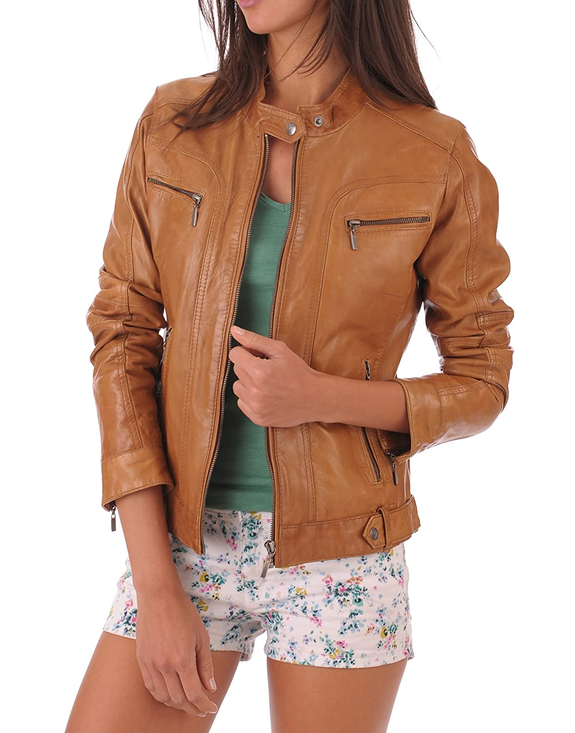 Brown11rc DOLLY LAMB 100% Leather Jacket for Women  Round Collar, Slim Fit & Quilted  Moto, Bomber, Biker Winter Casual Wear