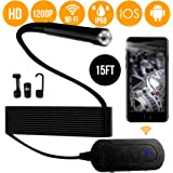 1080p Wireless Endoscope Waterproof WiFi Borescope Inspection Camera for Android and iOS Smartphone, iPhone, Samsung, iPad, Tablet