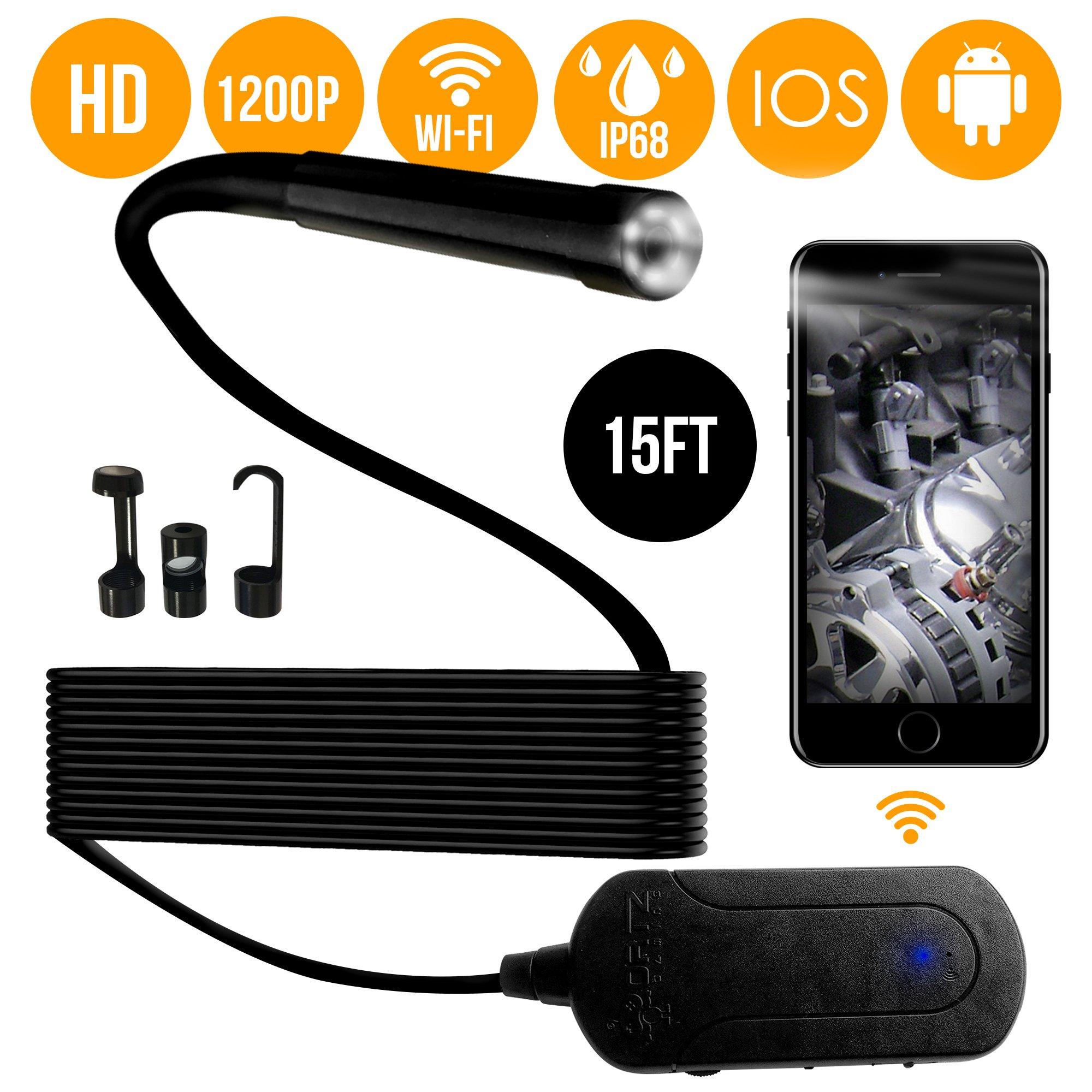 1080p Wireless Endoscope Waterproof WiFi Borescope Inspection Camera for Android and iOS Smartphone, iPhone, Samsung, iPad, Tablet by Ortz