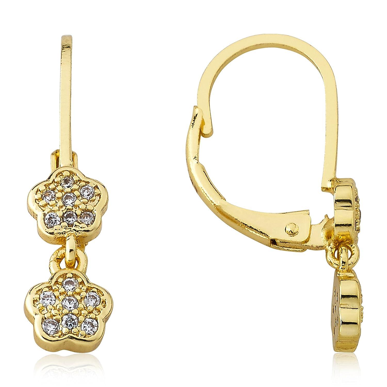 Little Miss Twin Stars Little Miss Flower Girl 14k Gold Plated Cz Filled Double Dangle Earring