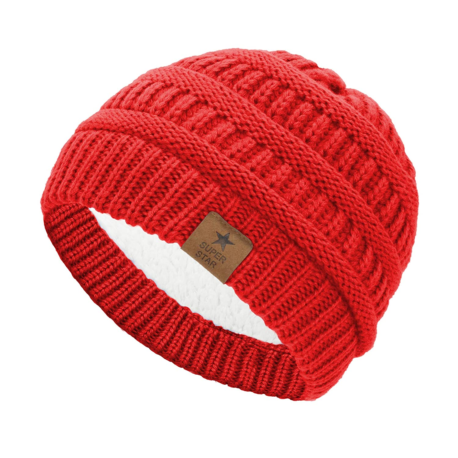 1 Pack Red Durio Unisex Cotton Cute Infant Beanie Hat Toddler Baby Kids Cap Soft Warm Adjustable Boys Girls Hat