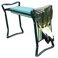Folding Garden Kneeler Bench Set of 6pcs( Kit includes 3 Ergonomic Gardening Tools , Gloves , Tool Bag Pouch & 2 in 1 Seat / Stool & Arthritis Friendly Soft Kneeler with Handle )by GardeniaHOME&GARDEN