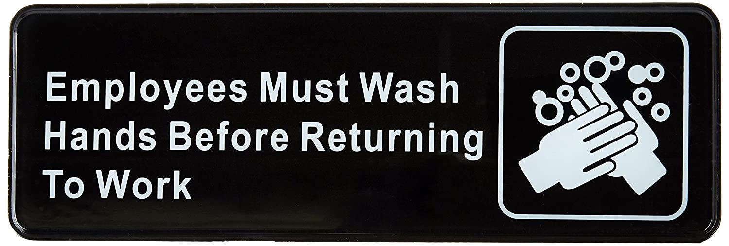 Winco SGN-322 Sign, 3-Inch by 9-Inch, Employee Must Wash Hand Winco USA