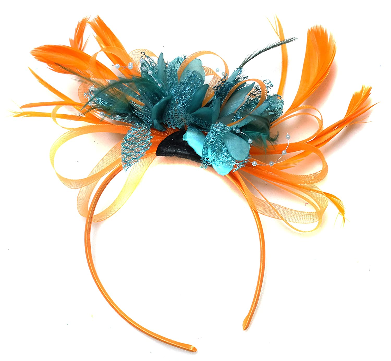 95a855f235e86 Orange and Teal Turquoise Fascinator Headband Net Hoop Feather Hair Wedding  Royal Ascot Races at Amazon Women s Clothing store