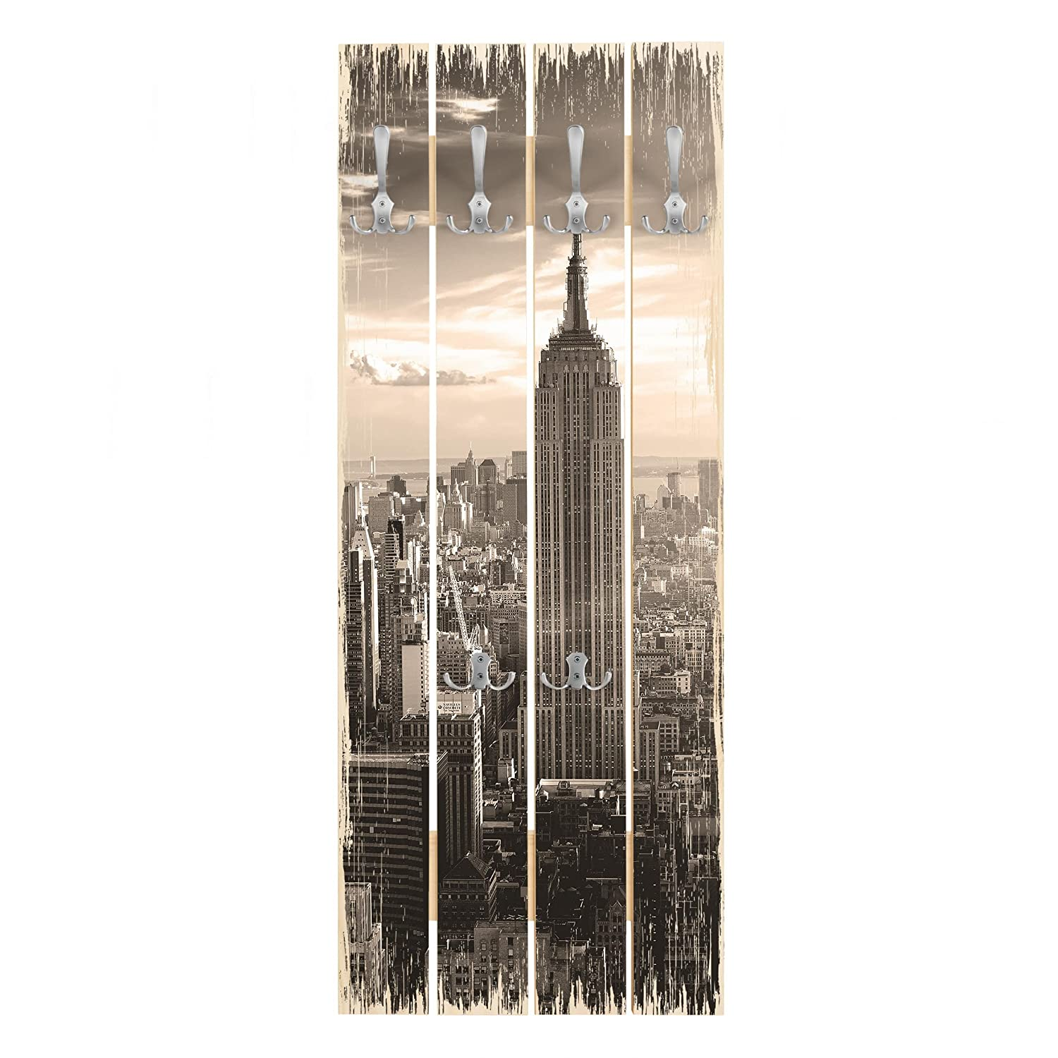 Bilderwelten Perchero de Madera - Manhattan Skyline ...
