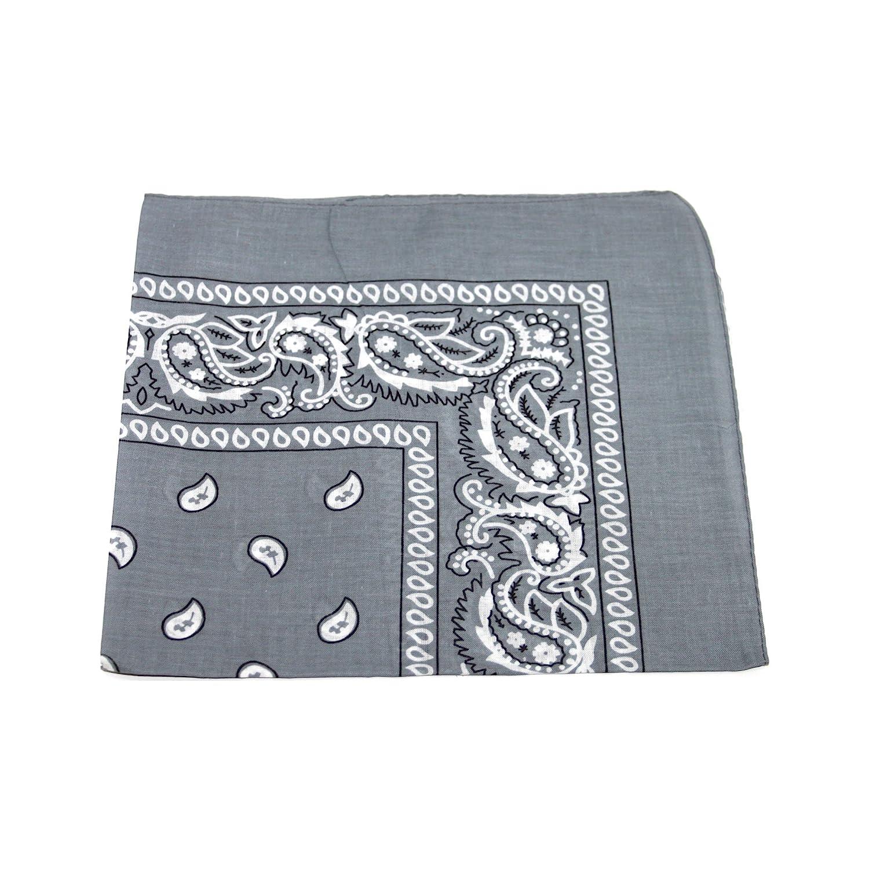 Essex Marketplace Grigio chiaro –  Paisley Style bandana quadrata testa sciarpa collo polso Wrap Grey Taglia unica Auto