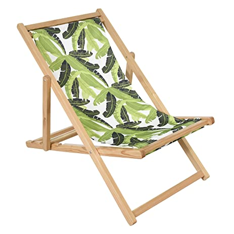 Superbe Astella Adjustable Wooden Cabana Beach Chair, Green Banana Leaf