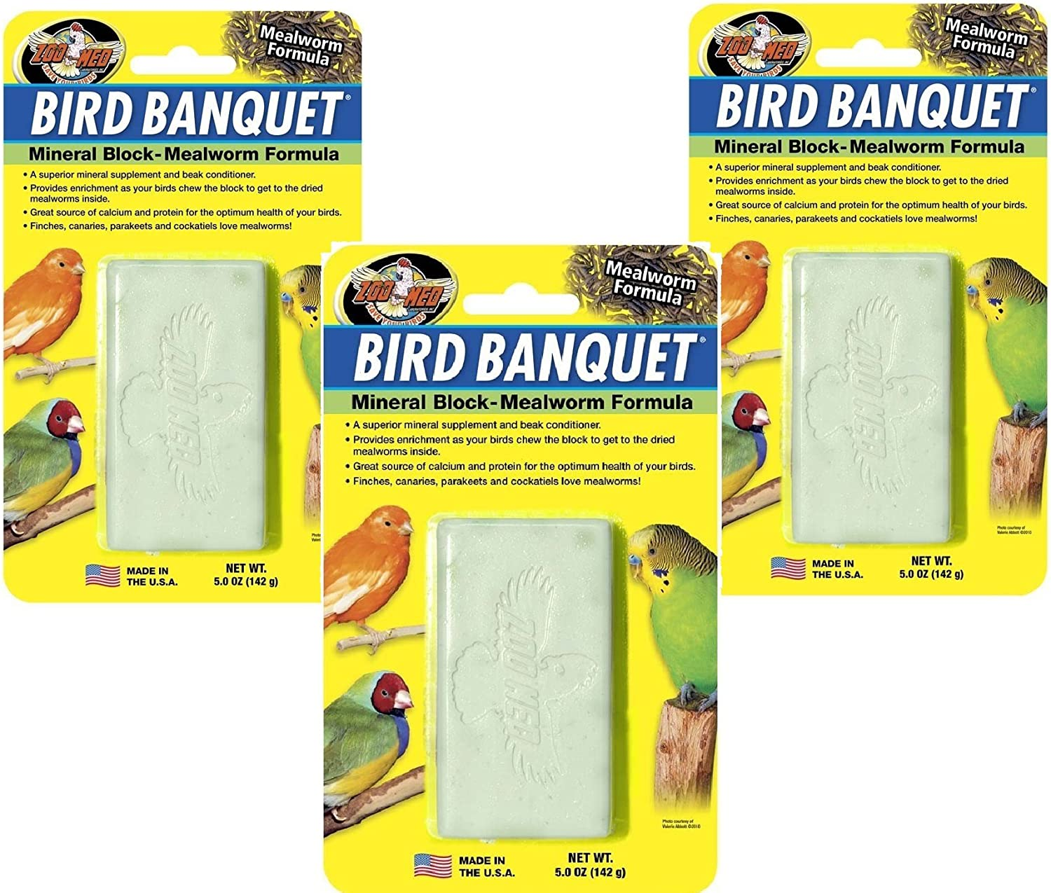 Zoo Med (3 Pack) Bird Banquet Mineral Block Large, Mealworm Flavor - 5oz Each