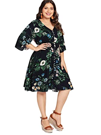 cfdd07d763 Milumia Plus Size Floral Print V Neck Flared Half Sleeves Empire Waist  Bohemian Button up Party
