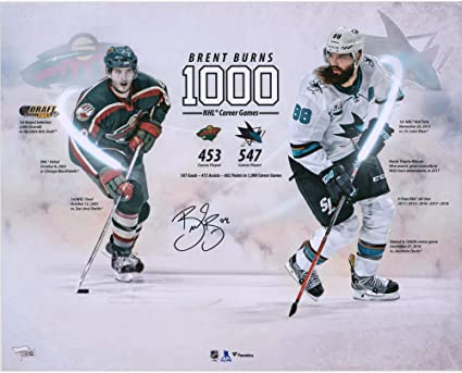 """875936a95 Brent Burns San Jose Sharks Autographed 16"""" x 20"""" 1000th NHL Game  Stylized Photograph"""