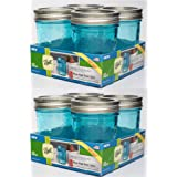 Ball Wide Mouth Collection Elite Blue Half-Pint Glass Mason Jars with Bands and Lids, 8 oz, 8 Count
