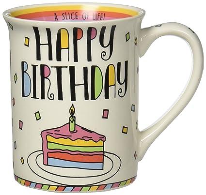 Amazon Com Enesco Happy Birthday Cake Stoneware Coffee Mug 16 Oz