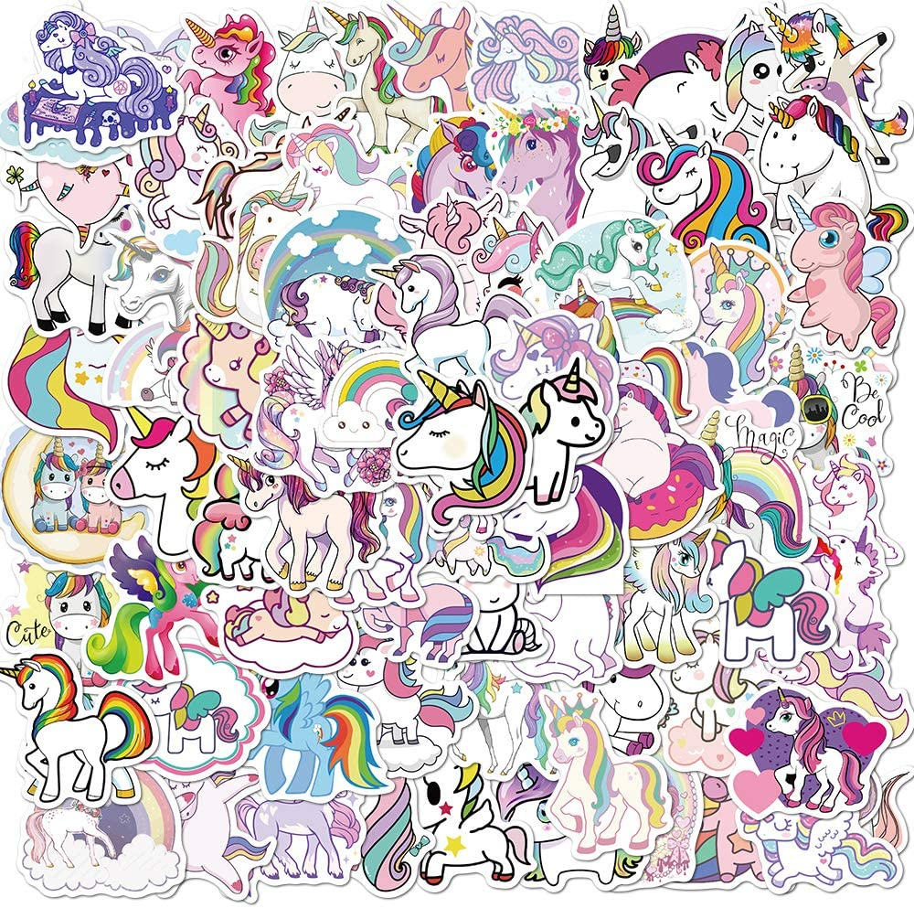 Unicorn Stickers 100 pcs Cute Cartoon Stickers Vinyl Waterproof Stickers for Girls Adults Teens Hydroflask Luggage Car Laptop