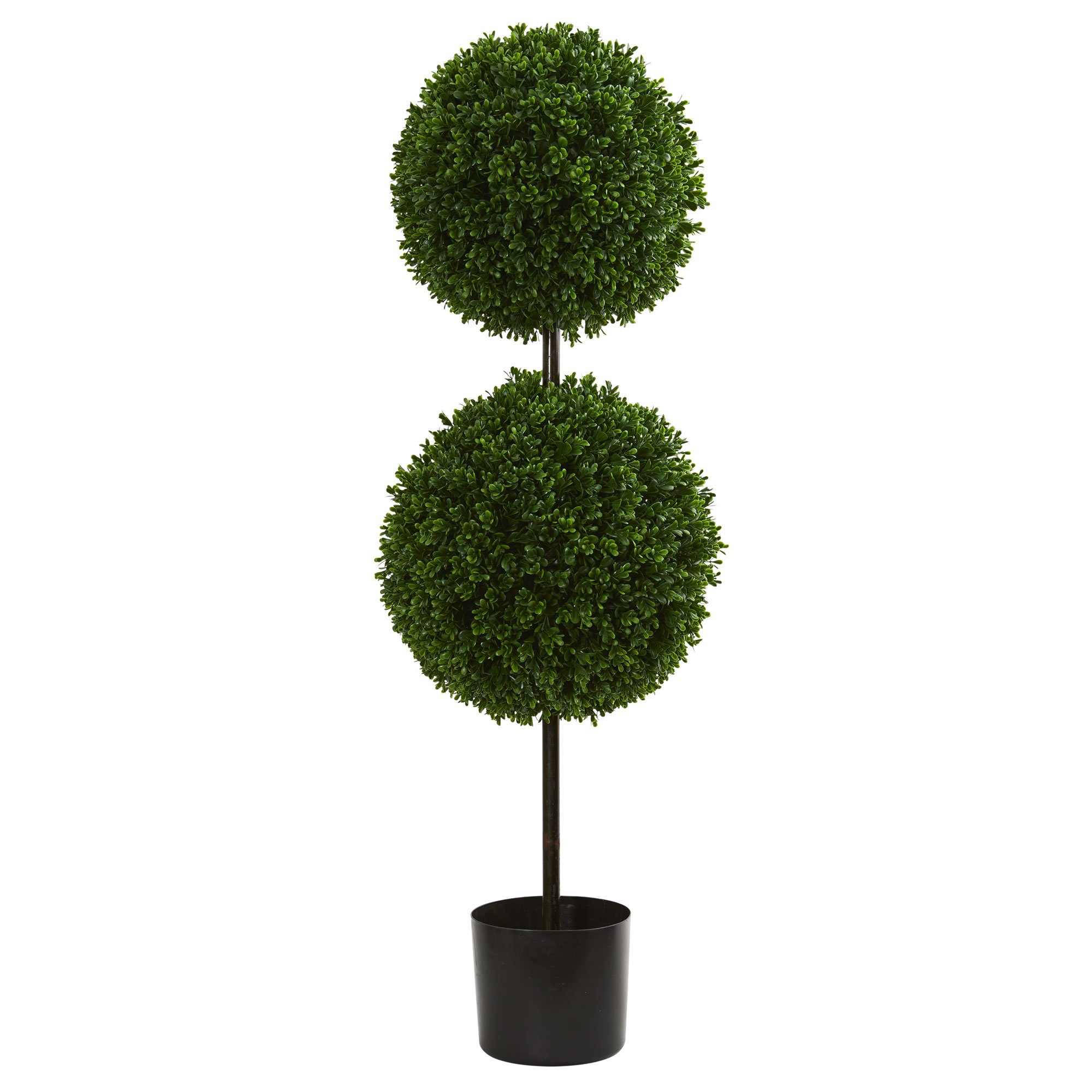 Nearly Natural 3.5' Boxwood Double Ball Artificial Topiary Tree UV Resistant (Indoor/Outdoor), Green by Nearly Natural