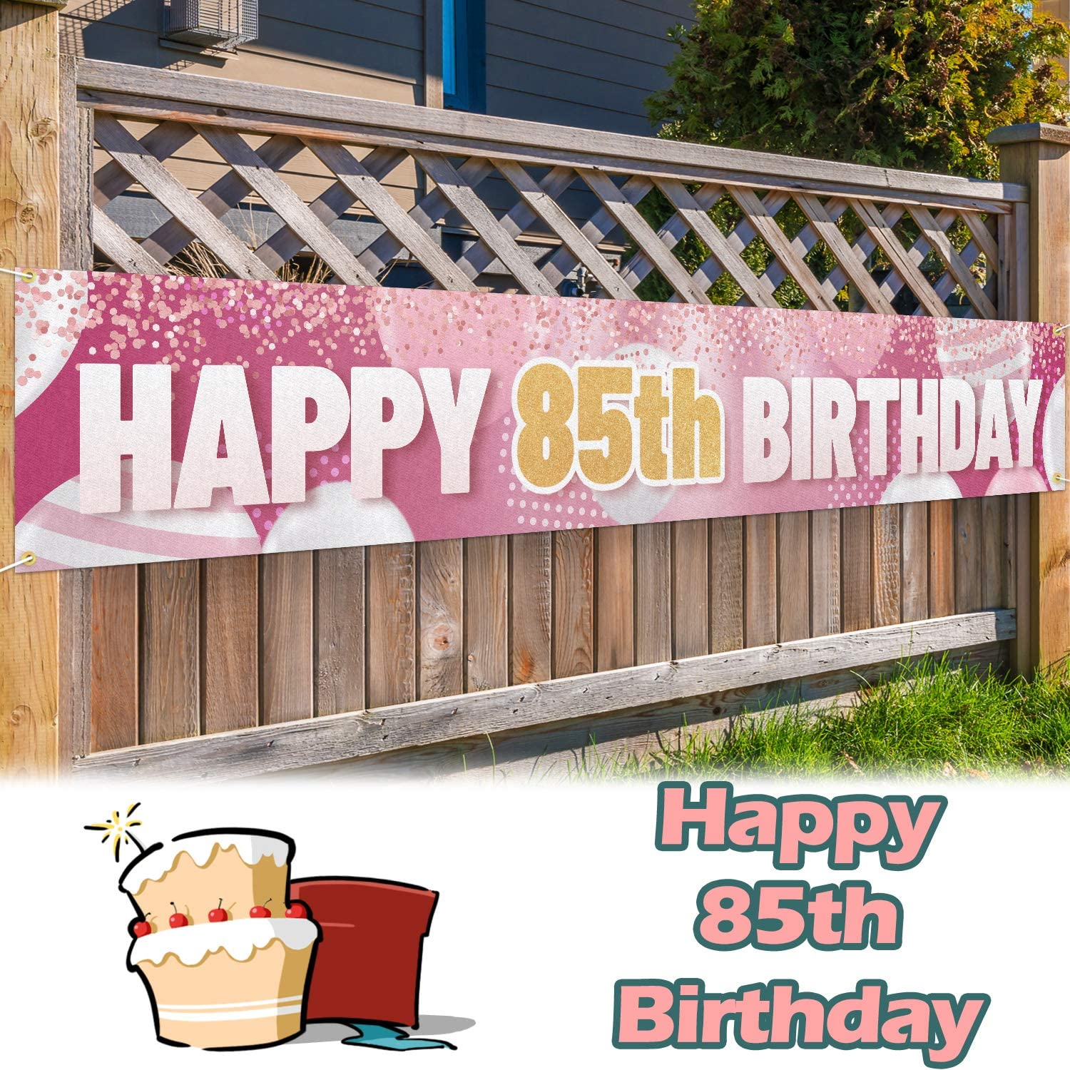 Large 85th Birthday Party Banner 9.8 x 1.6ft 85th Birthday Party Supplies Decorations for Both Outdoor Indoor Gold