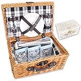 """Picknickkorb """"PickPack"""" mit Kühlfach, Kühlpacks und Geschirr in weiß oder braun (braun)"""