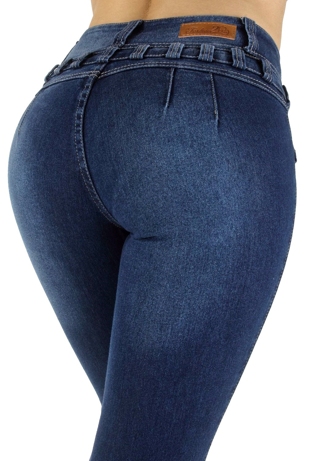 Style M1213– Colombian Design, High Waist, Butt Lift, Levanta Cola, Skinny Jeans In M. Blue Size 13