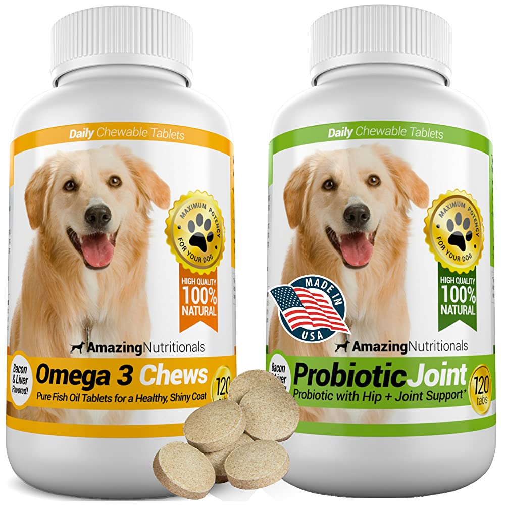 Amazing Combo Omega-3 Fish Oil and Probiotics for Dogs – Pure All-Natural Pet Antioxidant – Promotes Shiny Coat, Brain Health, Eliminates Diarrhea Gas and Joint Pain, 120 Tasty Chews x 2